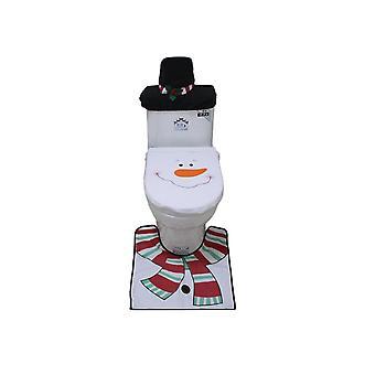 3PCS Bathroom Toilet Seat Cover Christmas Snowman Decoration
