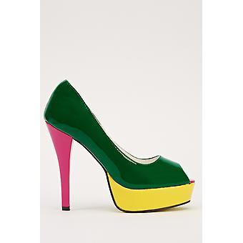 Block Colour Patent PVC Peep Toe Shoes