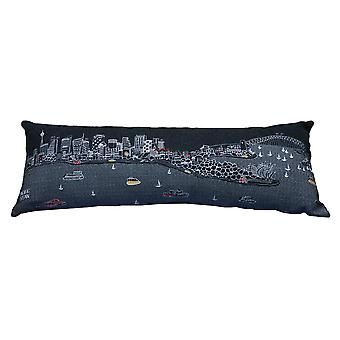 Spura Home Sydney Printed Skyline Embroidered Wool Cushion Day/Night Setting