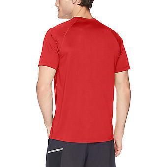 Peak Velocity Men's Tech-Vent Short Sleeve Odor-resistant Loose-Fit T-shirt, Threshold Red, Large