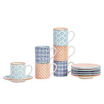 Nicola Spring 12 Piece Hand-Printed Espresso Cup and Saucer Set - Small Porcelain Coffee Cups - 3 Colours - 65ml