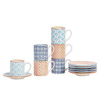 نيكولا ربيع 12 قطعة اليد المطبوعة كأس اسبرسو ومجموعة الصحون - فناجين القهوة الخزف الصغيرة - 3 ألوان - 65ml