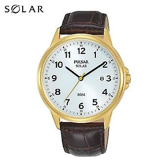 Pulsar Mens Solar Brown Classic Leather Strap Gold Case 50M Watch (PX3200X1)