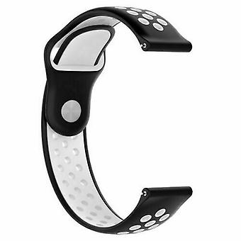 For Huawei Watch GT Replacement Silicone Sports Band Strap[Black/White]