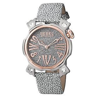 Rebel Women-apos;s RB104-5011 Coney Island Rose-Gold IP Smoke Leather Montre-bracelet