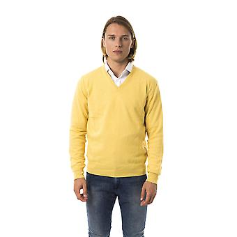 Uominitaliani Giallo V-Neck Extrafine Yellow Sweater