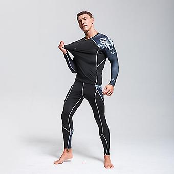 Man Sport Thermal Underwear Set, Compression Suit Cycling Jogger Set Rashguard