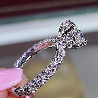 Charm Full Zircon Crystal Engagement Ring Fashion Ladies Ring
