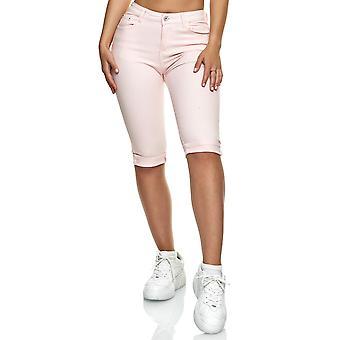 Kvinnors Capri Jeans 3/4 Stretch Bermuda Shorts stor storlek byxor Casual används tvättas