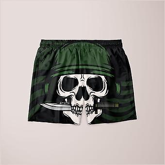 Skull with bayonet background shorts
