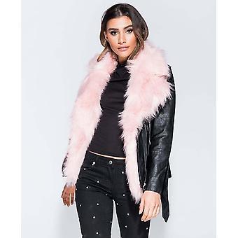 Long pu leather & fur biker jacket