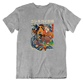 Cat Ukiyoe Japanese Culture Vintage Painting Graphic T Shirt for Men