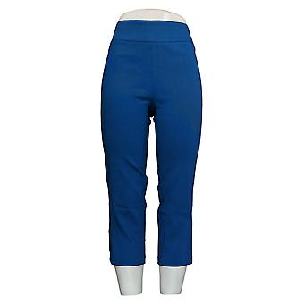 Joan Rivers Women's Pants Pull-On Cropped Lace Up Detail Blue A301919