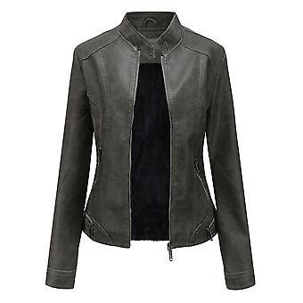 YANGFNA Women Faux Leather Jacket Plus Velvet Solid Color Casual  Coat