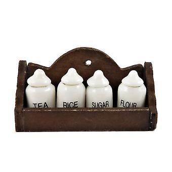 Dolls House Étagère murale en bois & 4 Pots de rangement blancs 1:12 Accessoire de cuisine