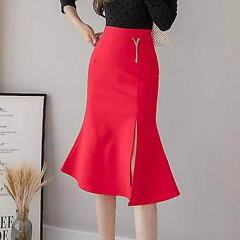 Γυναίκες Φούστες Συν Μέγεθος, Υψηλή Μέση, Βολάν Split Midi, Stretch Casual