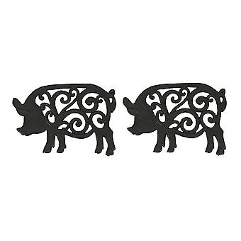 Set of 2 Decorative Cast Iron Pig Trivets