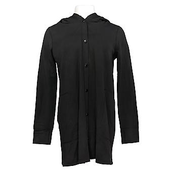 Cuddl Duds Women's Comfortwear Snap Front Hooded Cardigan Black A368222