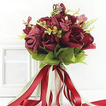 Jedwabne róże bukiet ślubny dla druhny ślubne