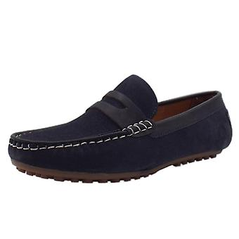 Chatham Olana Driving Moccasins In Navy Suede