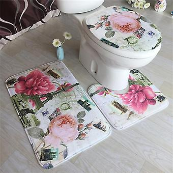 Embossing Flannel Cushion Toilet Seat Cover - Bath Mat For Home Decoration