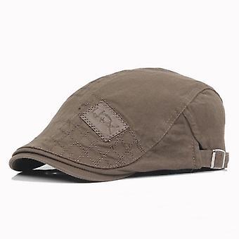 Mens Solid Cotton Cap, Golf Driving Summer Sun Flat Newsboy Caps