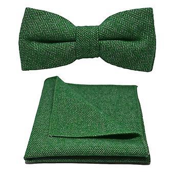 Puutarha Vihreä Herringbone Bow Tie & Pocket Square -setti
