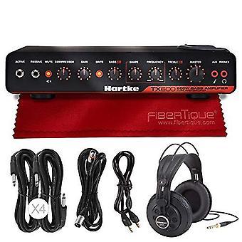Hartke tx600 600w cabezal amplificador de graves + auriculares + paquete de accesorios de lujo