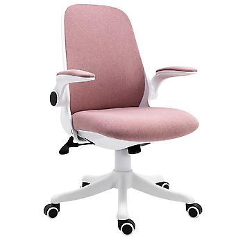 Vinsetto Swivel Office Chair Breathable Fabric Study Computer Chair with Flip-Up Arm for Home, Pink