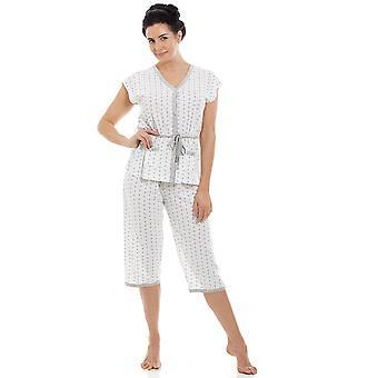 Camille Ladies algodón mezcla manga corta Croped fondos pijamas