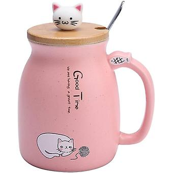 DZK 420Ml Lovely Cat Ceramic Cup with Stainless Steel Spoon and Wood Lid Coffee Tea Cup Round Cup