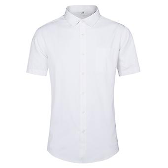 Yunyun Men's Lapel Solid Color Business Short-sleeved Shirt