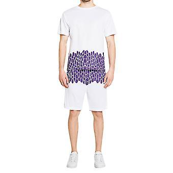 YANGFAN ανδρικό χρώμα μπλοκ T-shirt και σορτς σύνολο αθλητική φόρμα