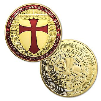 Рыцари-тамплиеры - широкий крест щита позолоченная красная монета