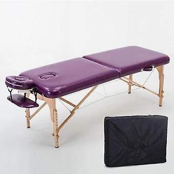 Cama de beleza dobrável e mesas de massagem com armário de salão de madeira