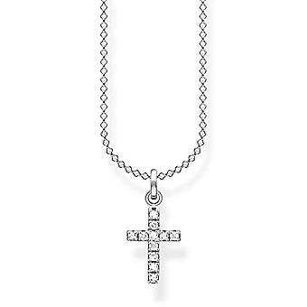 Thomas Sabo, sterling 925 silver women's necklace, with pav cross, length 36-38 cm