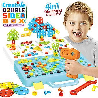 FengChun Drill Design Puzzle Kreatives Spielzeug - 252 Stück elektrische Bohrer Schraubendreher Gebäude 2D 3D