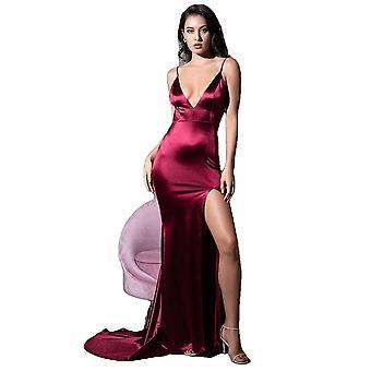 Sexy Deep V-Neck Bourgogne Découpé Élingte Dos Ouvert Bodycon Robe Longue Pour Les Femmes