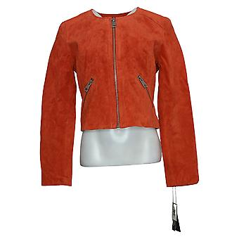 Bagatelle Women's NYC Genuine Suede Cropped Jacket Orange A438691