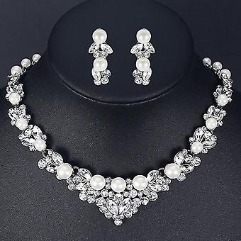 Elegante simulierte Perle Blatt, Kristall Halskette + Ohrringe Set