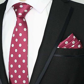 Dark red large white polka dot tie & pocket square set