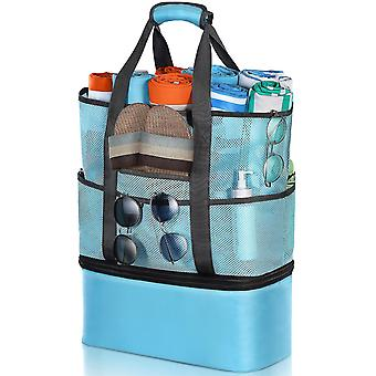 As shown 2 in 1 beach bag with thermal insulation bag mesh tote travel bag storage pouch for summer beach picnic swimming pool (light blue) dt3789