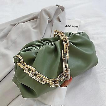 لحقيبة مخلب الأخضر مع سلسلة ذهبية سميكة طيات طويلة عصا صغيرة حقيبة يد (28cm * 14cm * 12cm) WS22183
