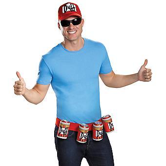 Duffman i Simpsons Duff øl tegneserie Mens kostyme tilbehør Hat belte Kit