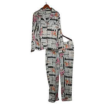 Tolani Coleção Women's Pajama Set Impresso Botão Tecido Branco A390127