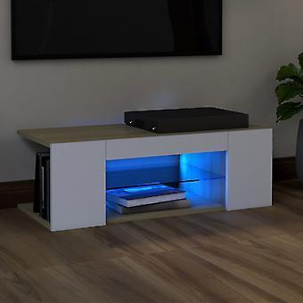 vidaXL armoire TV avec lampes LED blanc sonoma-chêne 90x39x30 cm