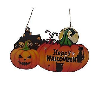 Halloween Kurpitsan oven roikkuva tervetuliaiskyltti - Hyvää Halloween-puista plakkilevyn sisustusta (väri1)