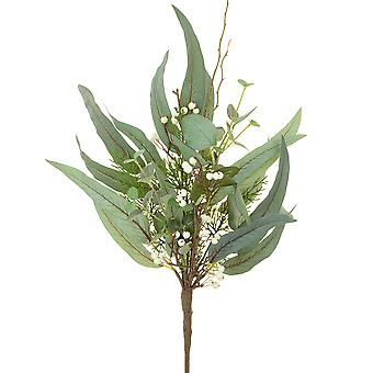 50cm Helmsley Mixed Leaf Eucalyptus & White Berry Foliage Floristry Pick