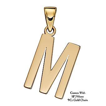 "HS Johnson HSJ-GP2212 Women's 9ct Gold ""M"" Pendant With Chain"