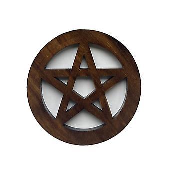 Wooden Pentagram Altar Tile, Astrology Wicca Ceremony Accessorie